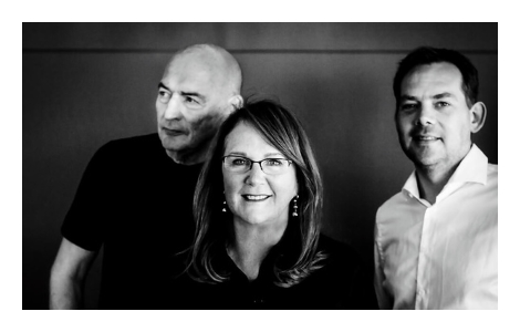 Naomi Milgrom with architects Rem Koolhas, left, and David Gianotten of OMA. Photo Fred Ernst.