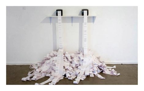 Benjamin Forster, Dialogue 2010, receipt printers, thermal paper, computer, custom software, Image courtesy and © the artist Photograph: TJ Phillipson